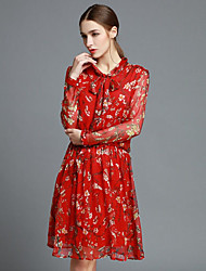 Boutique S Women's Going out Cute Sheath Dress,Floral Stand Above Knee Long Sleeve Red Silk Spring