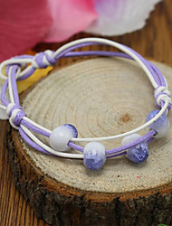 Strand Bracelets 1pc,Green / Purple Bracelet Bohemia Style Round Ceramic Jewellery