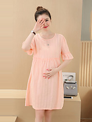 Maternity Casual/Daily Simple Loose Dress,Solid Round Neck Knee-length ½ Length Sleeve Pink Cotton Summer