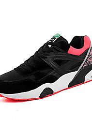 женская обувь коровьей / искусственная замша / тюль весна / осень комфорт кроссовки спортивная плоский каблук шнуровке черный / красный