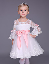 A-line Knee-length Flower Girl Dress - Lace 3/4 Length Sleeve Scoop with Bow(s)