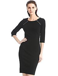 Women's Plus Size / Casual/Daily / Work Street chic Sheath Dress,Solid Round Neck Knee-length ¾ Sleeve