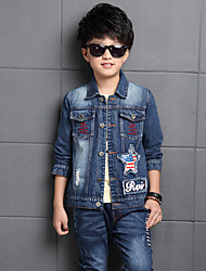 Boy's Shirt Collar Sanding and washing water Patchwork Jeans / Denim Coat