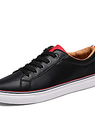 Men's High Quality PU Upper Skateboarding Shoes for all Year Around Man's Casual Lace-up Flat Sneakers for Students