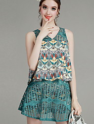 MIUCO Casual/Daily Simple Summer Set,Striped V Neck Sleeveless Green Cotton Thin