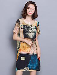 Women's Plus Size Vintage Shift Dress,Print Round Neck Above Knee Short Sleeve Blue / Yellow Silk Summer