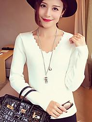 Damen Standard Pullover-Lässig/Alltäglich Einfach Solide Weiß / Schwarz / Braun / Grau V-Ausschnitt Langarm Baumwolle Frühling / Herbst