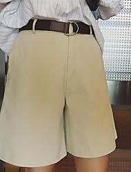 Mulheres Calças Simples Chinos Poliéster Micro-Elástica Mulheres