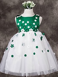 A-line Short / Mini Flower Girl Dress - Tulle Sleeveless Jewel with Flower(s)
