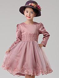 A-line Knee-length Flower Girl Dress - Cotton / Satin / Tulle Long Sleeve Jewel with Appliques / Embroidery