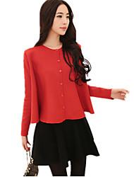 Women's Round Collar Solid Loose Cloak Shawls Big Swing Sweater Cardigan Knitwear