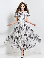 BORME® Women's Round Neck Short Sleeve  Bohemia Floral Print Tea-length Dress-Z106