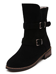 Women's Boots Fall / Winter Motorcycle Boots / Round Toe Dress Low Heel Buckle Black / Yellow / Gray Others