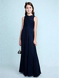 Lanting Bride Floor-length Chiffon / Lace Junior Bridesmaid Dress Sheath / Column Scoop with Lace
