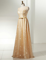 Formal Evening Dress A-line Scoop Floor-length Lace / Tulle / Sequined with Sash / Ribbon / Sequins
