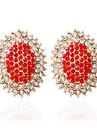 Moda Liga Formato Oval Branco Preto Vermelho Azul Rosa claro Jóias Para Casamento 1 par