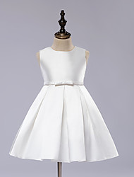 A-line Knee-length Flower Girl Dress - Satin Sleeveless Jewel with Draping / Sash / Ribbon