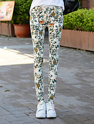 Women's Floral Yellow Skinny Pants,Simple