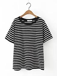 Damen Gestreift Einfach Lässig/Alltäglich T-shirt,Rundhalsausschnitt Sommer Kurzarm Schwarz Baumwolle / Leinen Dünn