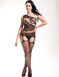 Women Black Conjoined Tight Shoulde Stockings Transparent Temptation Lingerie