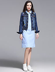 MISS FRENCH  Going out /Daily/Sexy /Spring / Fall Denim Jackets,Solid Shirt Collar Long Sleeve Blue Cotton Medium