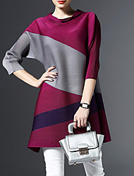 Women's Casual/Daily Simple Loose Dress,Color Block Round Neck Above Knee ¾ Sleeve Multi-color Rayon Fall
