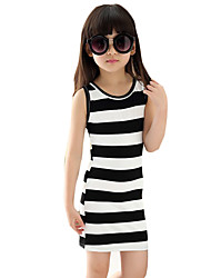 Girl's Casual/Daily Striped DressPolyester Summer Black