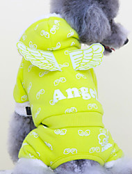 Cat / Dog Costume / Clothes/Jumpsuit Green / Blue / Pink Winter / Spring/Fall Angel & Devil Cosplay, Dog Clothes