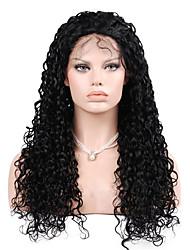 evawigs profunda onda encaracolado 10-28 polegadas frente perucas 100% laço do cabelo humano perucas cor natural densidade de preto 130%