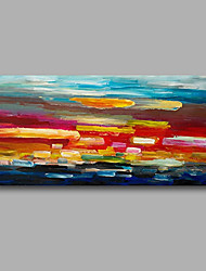 """Stretched (Ready to hang) Hand-Painted Oil Painting 40""""x20"""" Canvas Wall Art Modern Abstract Red Blue Pink"""