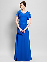 Lanting Bride® Sheath / Column Mother of the Bride Dress Floor-length Short Sleeve Chiffon with Criss Cross