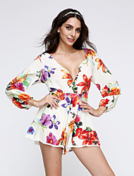 Women's Print Multi-color Dress , Print V Neck Long Sleeve