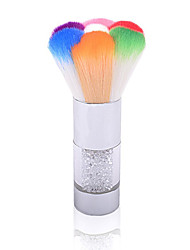Nail Art Dust Remover Brush Cleaner Acrylic UV Gel Rhinestones Makeup Brush Tool (Random Color)