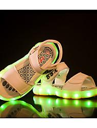 Para Meninas-Sandálias-Conforto Light Up Shoes-Rasteiro-Preto Azul Marrom Branco-Couro Ecológico-Casual