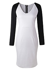 Women's Going out Sexy Bodycon Dress,Patchwork V Neck Midi Long Sleeve Red / White Polyester Fall