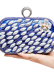 L.WEST Women's The Elegant Luxury Handmade Pearl Diamonds The Flower Evening Bag
