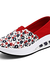 Women's Loafers & Slip-Ons Spring / Fall Crib Shoes Canvas Casual Platform  Blue / Purple / Red / Black and Red Walking