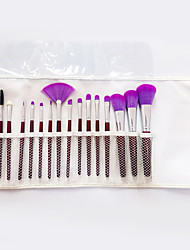 16 Makeup Brushes Set Synthetic Hair Professional / Full Coverage Wood