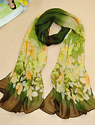 Women's Chiffon Flowers Print Scarf,Green/Purple/Gray/Pink/Blue/Black