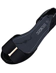 Damen-Sandalen-Lässig-PU-Flacher AbsatzSchwarz Beige