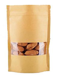 sacs en papier kraft, fenêtre, sacs stand-up, les emballages alimentaires, 9cm * 15cm + 3cm, un paquet de dix