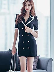 De las mujeres Corte Bodycon Vestido Trabajo Sofisticado,Bloques Cuello Camisero Mini Manga Corta Negro Rayón Verano