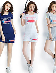 Running Clothing Sets Women's Short Sleeve Breathable Polyester Fitness Leisure Sports Badminton Cycling Running Sports