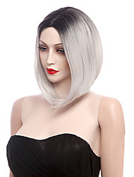 Capless Ombre Black Grey Straight Fashion Wig