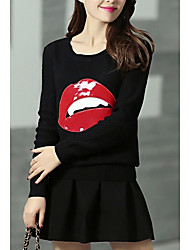 Women's Casual/Daily Simple Sweater Dress,Print Round Neck Mini Long Sleeve Blue / Red / Black Wool Fall