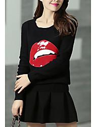 De las mujeres Punto Vestido Casual/Diario Simple,Estampado Escote Redondo Mini Manga Larga Azul / Rojo / Negro Lana Otoño