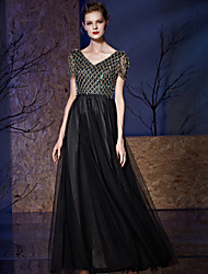 Formal Evening Dress A-line V-neck Floor-length Tulle / Sequined with Embroidery / Sequins