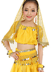 Belly Dance Outfits Children's Performance Chiffon Gold Coins Sequin 7 Pieces Fuchsia / Light Blue / Purple / Royal