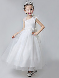 Ball Gown Ankle-length Flower Girl Dress - Cotton Satin Tulle Straps with Flower(s) Ruffles