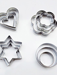 12pc stainless steel cookie cutter round stars heart flower shaped biscuits mold for DIY cake kitchen tools
